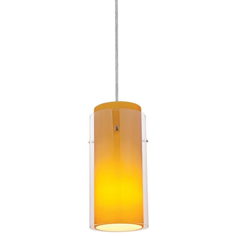 "Glass 'n Glass 4 1/2""W Amber Glass LED Mini Pendant"