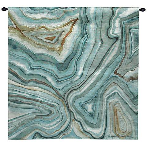 """Agate Abstract II 30"""" Square Blue Textile Wall Tapestry"""