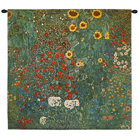 """Klimt Farm Garden with Sunflowers 30""""W Wall Tapestry"""