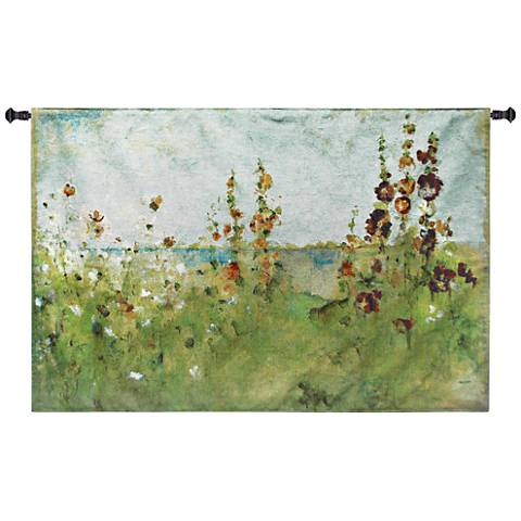 "Hollyhocks by the Sea 52""W Coastal Textile Wall Tapestry"