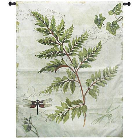 "Ivies and Ferns I 52""H Botanical Textile Wall Tapestry"