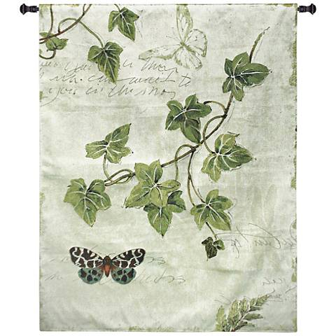 "Ivies and Ferns II 52""H Botanical Textile Wall Tapestry"