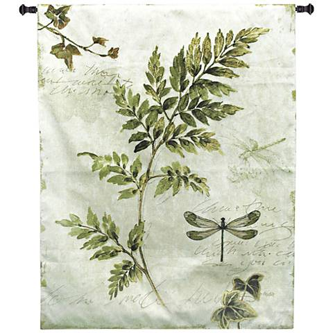 "Ivies and Ferns III 52""H Botanical Textile Wall Tapestry"