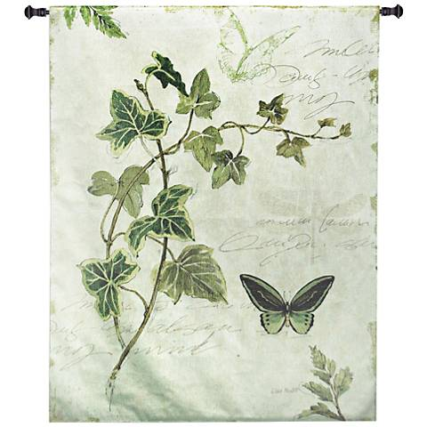 "Ivies and Ferns IV 52""H Botanical Textile Wall Tapestry"