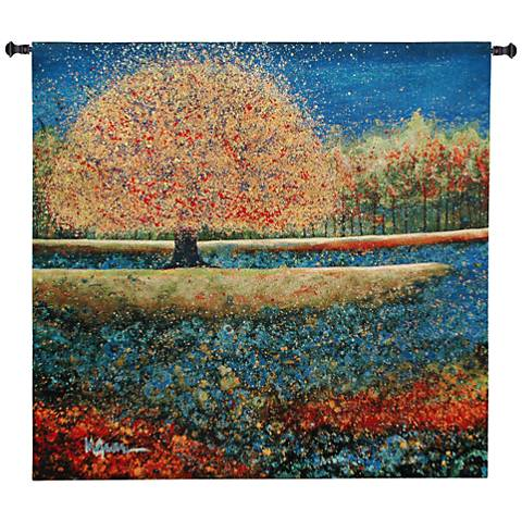 "Jewel River 51""W Modern Landscape Textile Wall Tapestry"
