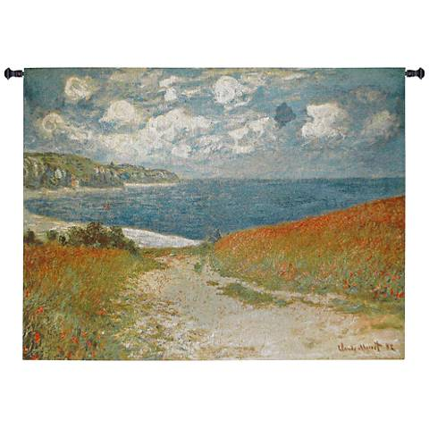"Monet Path Through the Corn at Pourville 70""W Wall Tapestry"