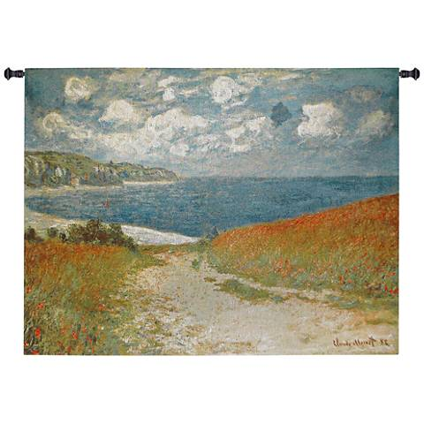 "Monet Path Through the Corn at Pourville 53""W Wall Tapestry"