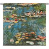 """Monet Water Lilies 53"""" Square Impressionist Wall Tapestry"""