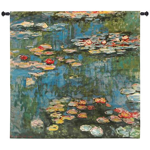 """Monet Water Lilies 45"""" Square Impressionist Wall Tapestry"""