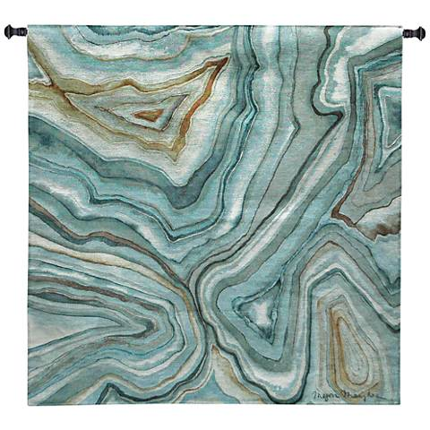 """Agate Abstract II 45"""" Square Blue Textile Wall Tapestry"""