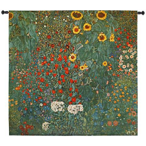 """Klimt Farm Garden with Sunflowers 53""""W Wall Tapestry"""