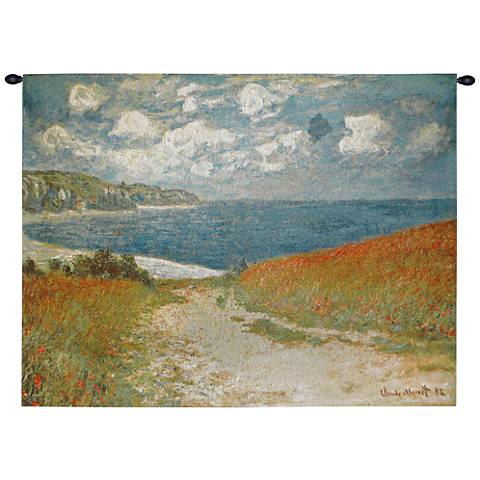 """Monet Path Through the Corn at Pourville 40""""W Wall Tapestry"""