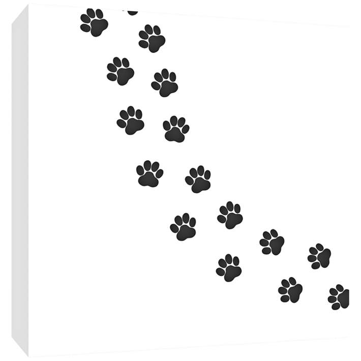 Trail Of Paw Prints 16 Square Canvas Wall Art 12n17 Lamps Plus