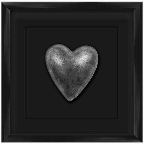 """Silver Leafed Heart 9 1/4"""" Square Black Framed Wall Art"""