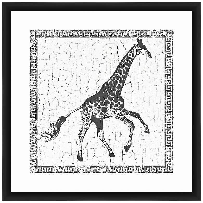 """Giraffe 22"""" Square Framed Giclee Wall Art"""