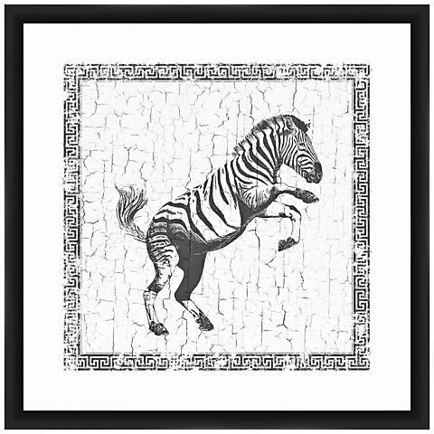 """Zebra 22"""" Square Framed Giclee Wall Art"""