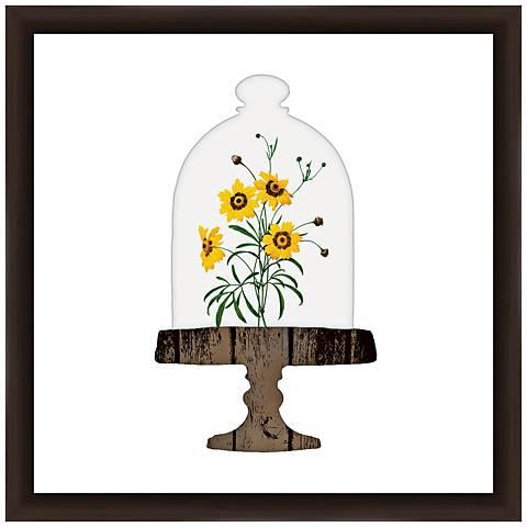 "Floral Bell Jar I 18"" Square Framed Giclee Wall Art"