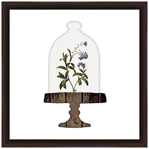 "Floral Bell Jar II 18"" Square Framed Giclee Wall Art"