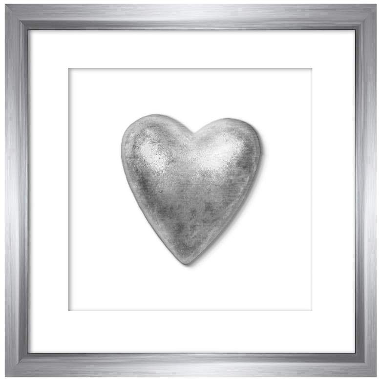 """Silver Leafed Heart 9 1/4"""" Square Framed Wall Art"""