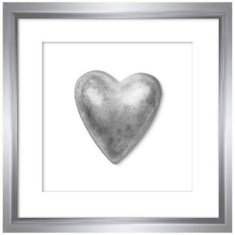 "Silver Leafed Heart 9 1/4"" Square Framed Wall Art"