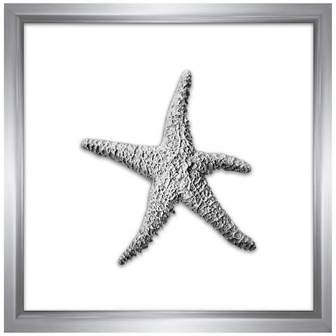 """Silver Leafed Starfish 16"""" Square Framed Wall Art"""