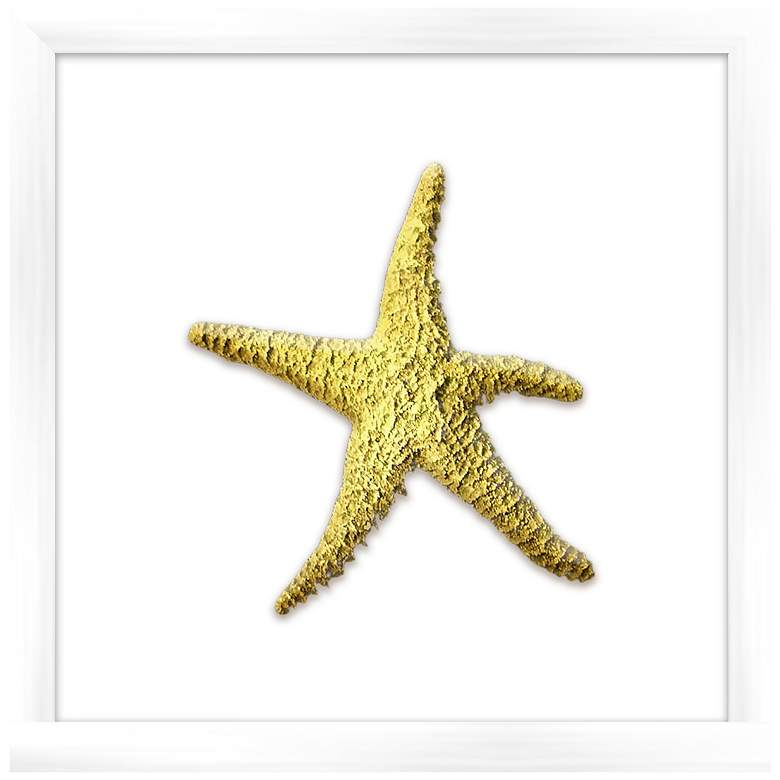 "Gold Leafed Starfish 16"" Square Framed Wall Art"