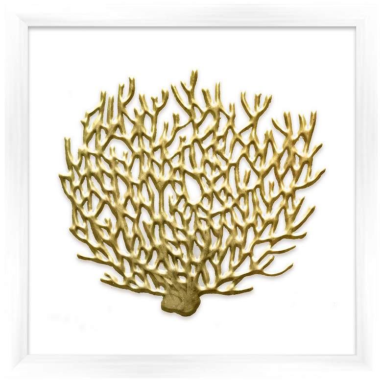 """Gold Leafed Coral 16"""" Square Framed Wall Art"""