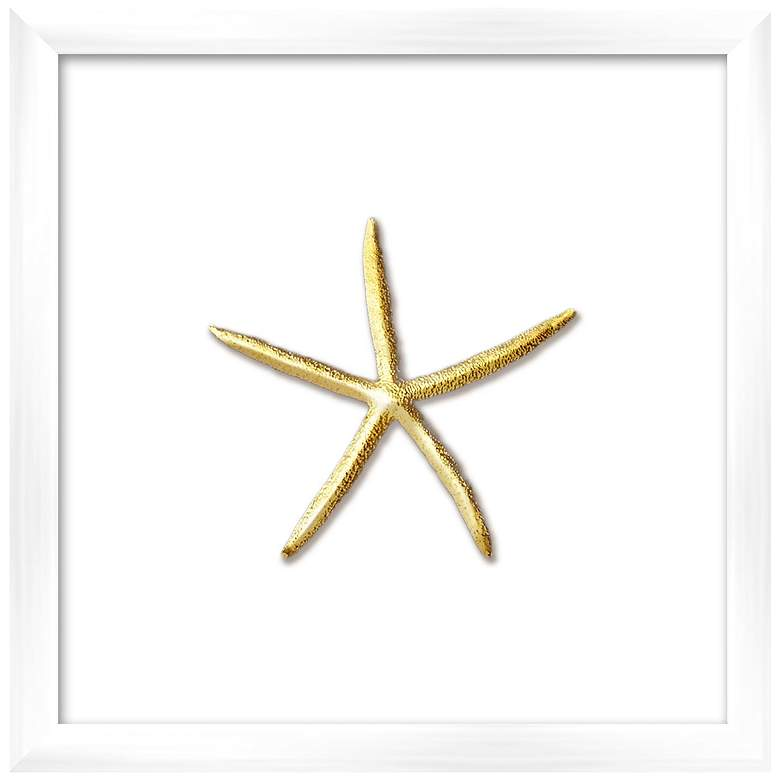 "Gold Leafed Thin Starfish 16"" Square Framed Wall"