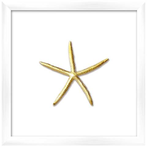 "Gold Leafed Thin Starfish 16"" Square Framed Wall Art"
