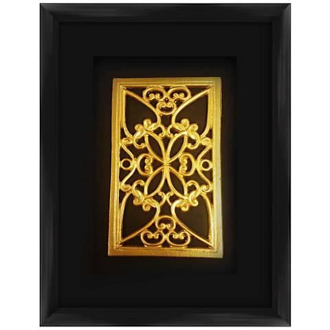 "Gold Leafed Medallion 17 1/2"" High Framed Wall Art"