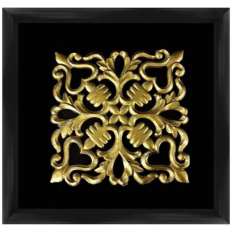 """Gold Leafed Crest 16"""" Square Framed Wall Art"""