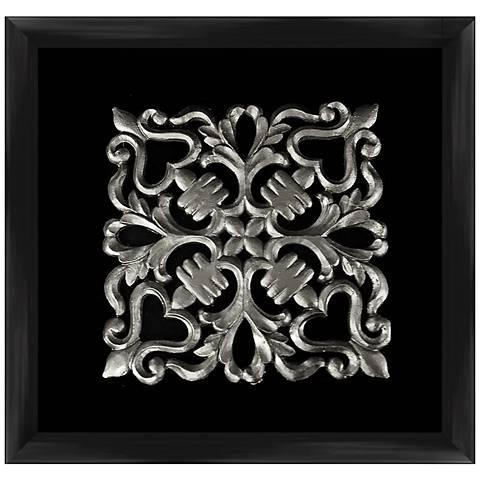 "Silver Leafed Crest 16"" Square Framed Wall Art"
