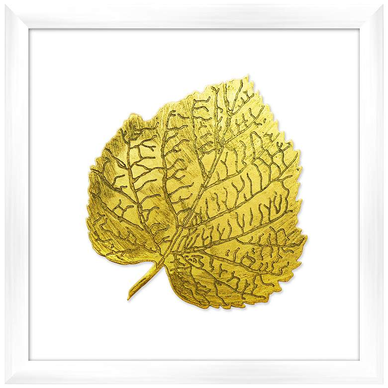 "Leaf in Gold 16"" Square Framed Wall Art"