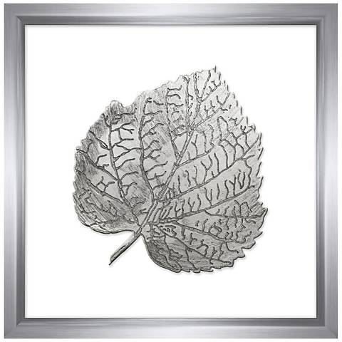 """Leaf in Silver 16"""" Square Framed Wall Art"""