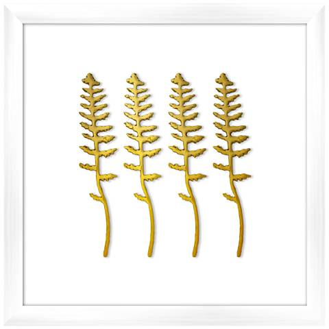 "Fern in Gold 16"" Square Framed Wall Art"