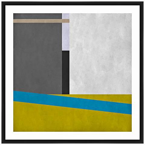 "Geometric Blocks I 26"" Square Framed Giclee Wall Art"