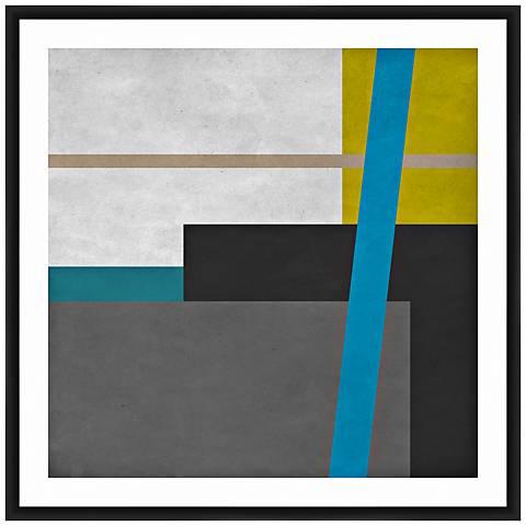 """Geometric Blocks II 26"""" Square Framed Giclee Wall Art"""