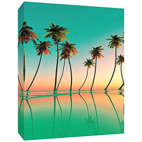 "Palm Trees 24"" High Canvas Wall Art"