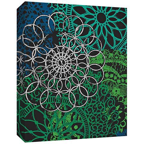 """Blue and Green Flower Power 24"""" High Canvas Wall Art"""