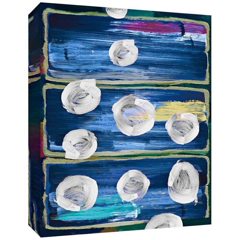 "Circles on Blue 24"" High Canvas Wall Art"
