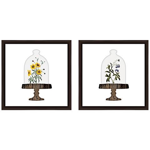 """Floral Bell Jar 18"""" Square 2-Piece Framed Wall Art Set"""