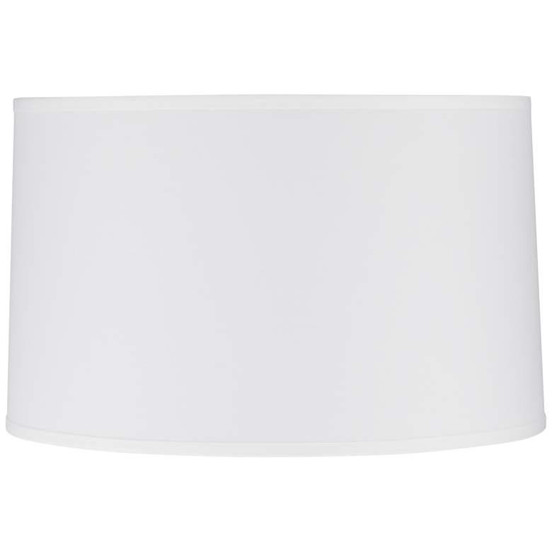 12N98 - White Sandstone Linen Drum Lamp Shade
