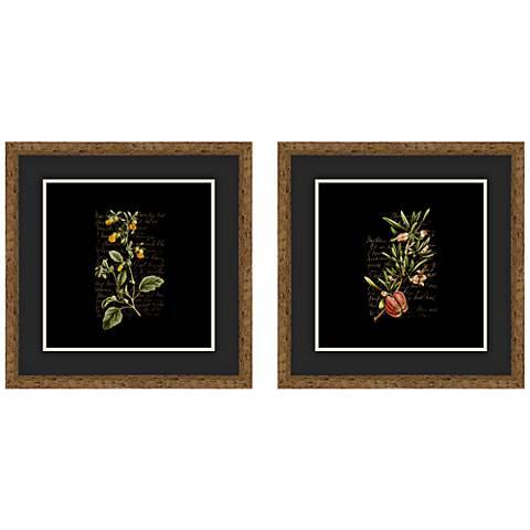 "Dark Florals 18"" Square 2-Piece Framed Giclee Wall Art Set"