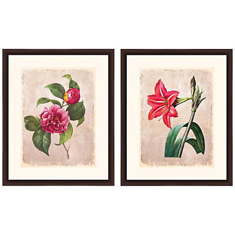 "Floral Vintage Still Life 22""H 2-Piece Framed Wall Art Set"