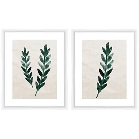 """Green Ferns 22"""" High 2-Piece Framed Giclee Wall Art Set"""