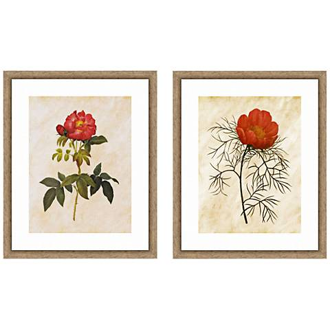 "Vintage Roses 22"" High 2-Piece Framed Giclee Wall Art Set"