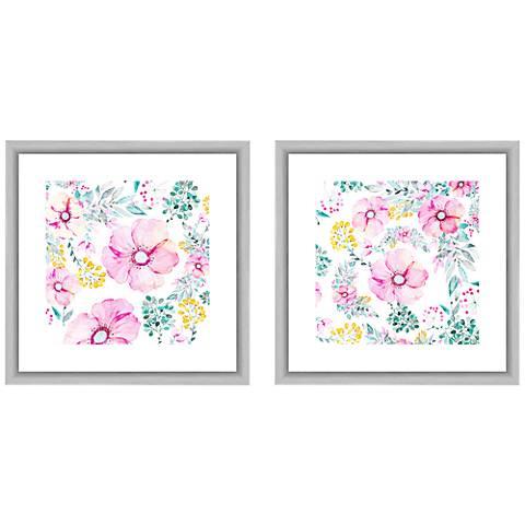 "Pastel Florals 18""W 2-Piece Framed Giclee Wall Art Set"