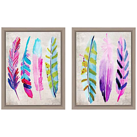 "Colorful Feathers 18""H 2-Piece Framed Giclee Wall Art Set"
