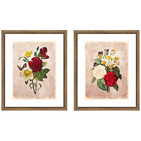 """Vintage Bouquet 22"""" High 2-Piece Framed Giclee Wall Art Set"""