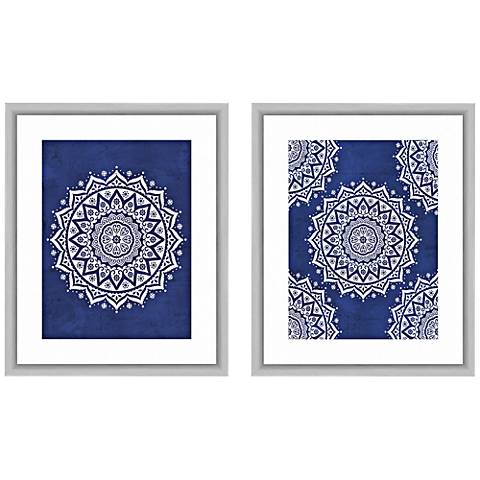 "Blue Boho Pattern 22""H 2-Piece Framed Giclee Wall Art Set"